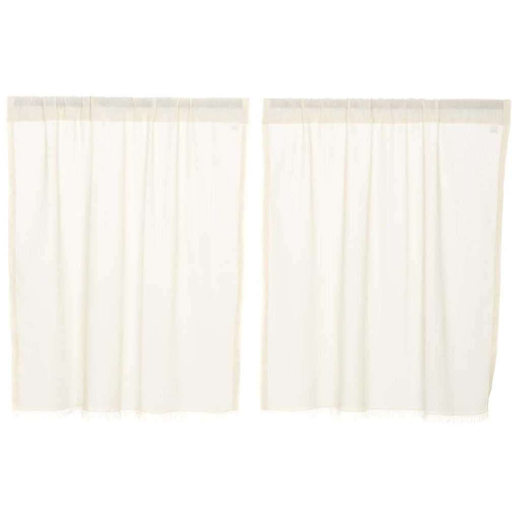 Salem Tobacco Cloth Antique White Tier Fringed Set of 2 L36xW36