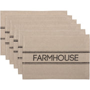 Miller Farm Charcoal Charcoal Farmhouse Placemat Set of 6 12x18