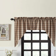 Miller Farm Charcoal Plaid Swag Curtain Set of 2 36x36x16