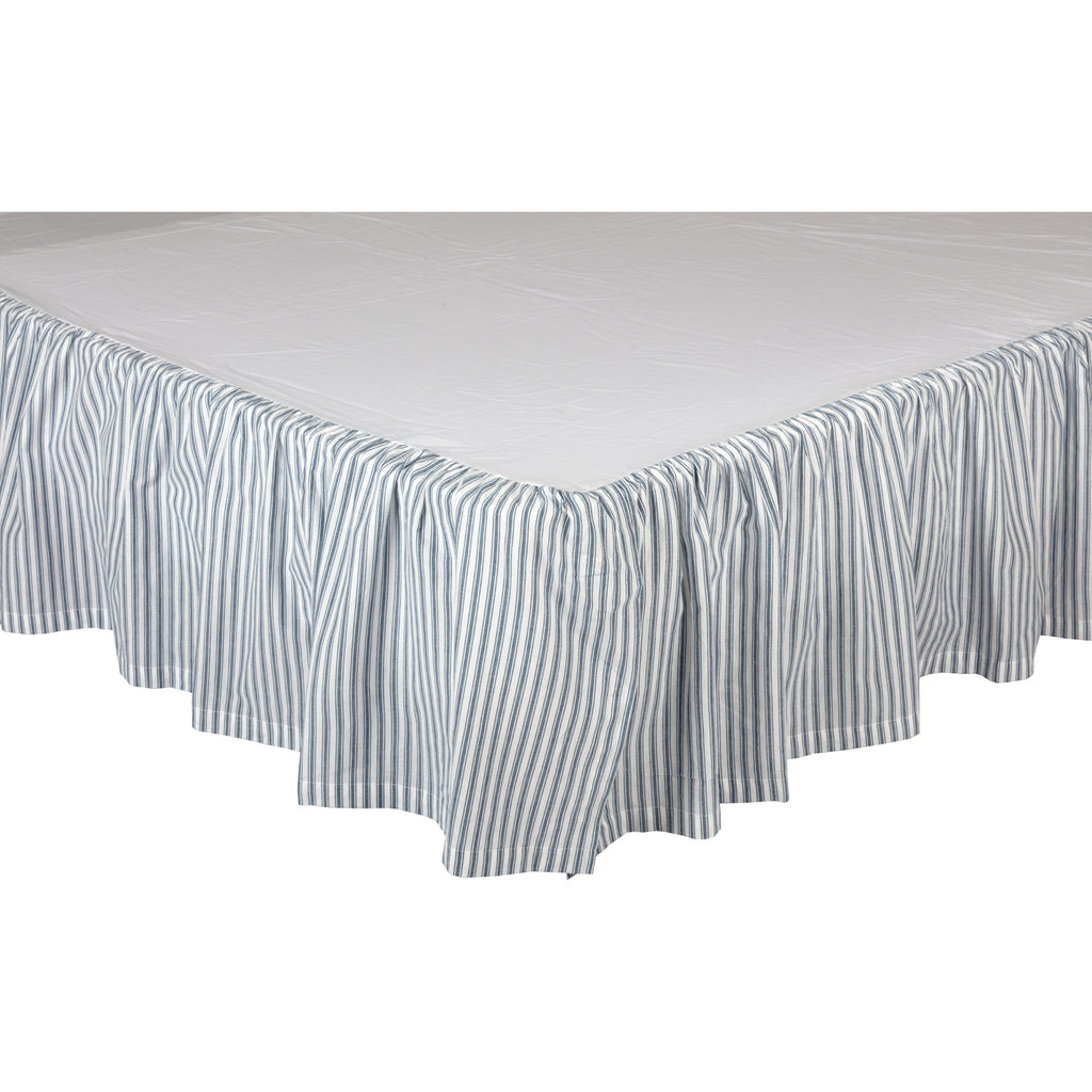 Miller Farm Blue Ticking Stripe King Bed Skirt 78x80x16