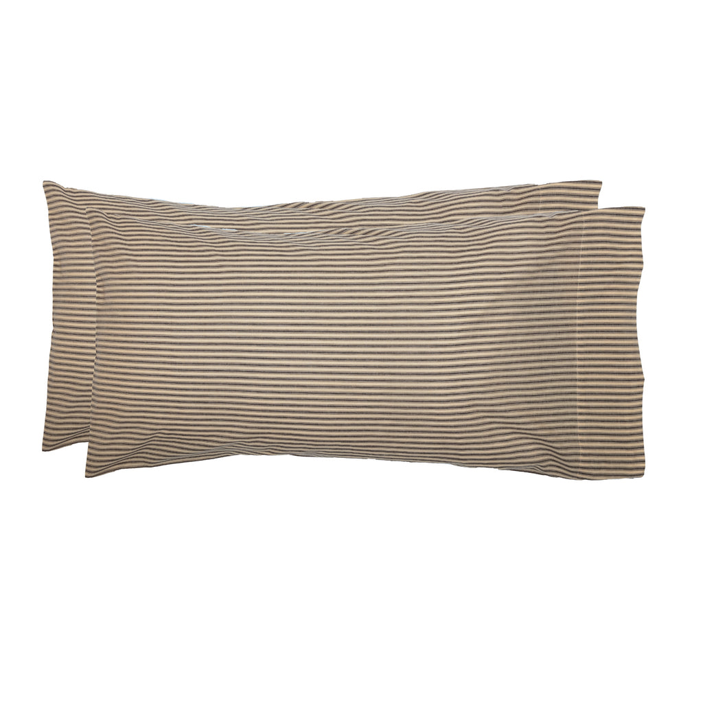Miller Farm Charcoal Ticking Stripe King Pillow Case Set of 2 21x40