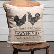 Miller Farm Charcoal Poultry Pillow 18x18