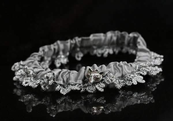 Handmade Leg Garter with Silver Lace