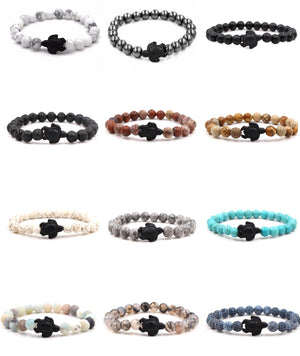 """Turtle / Honu Charm"" Stretch Beaded Bracelet - Various Colors"