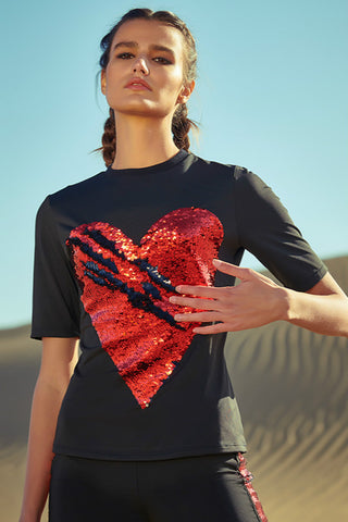 Caggeen Sequin Scratch Red Heart Quick-dry Sports T-shirt