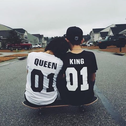 T-Shirt King Queen 01 Hip-hop T-shirt Vendita Calda - Lupsona