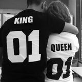 King Queen 01 Hip-Hop Couples T-Shirt Hei kënnt e Lupsona