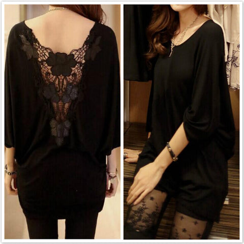 Lace Patchwork Backless Hollow Out Wanita Batwing Blouse Hot Sale - Lupsona