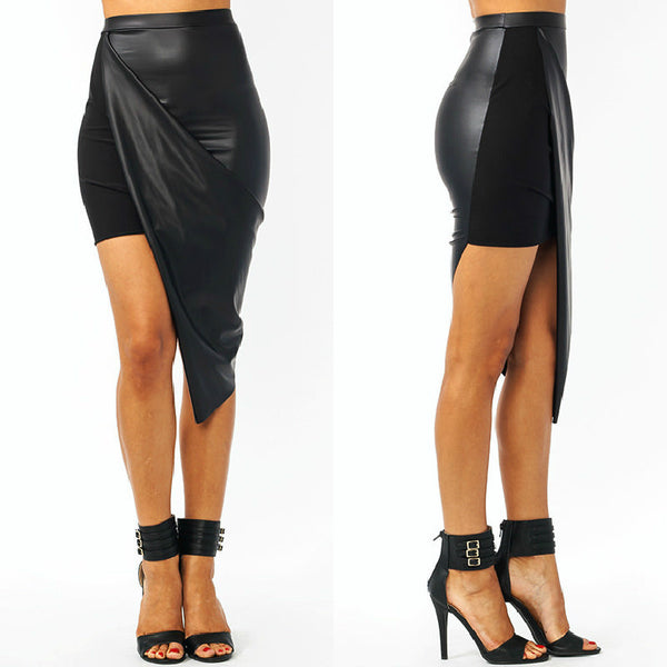 Leather Asymmetrical Nightclub Mini Skirt - Лупсона
