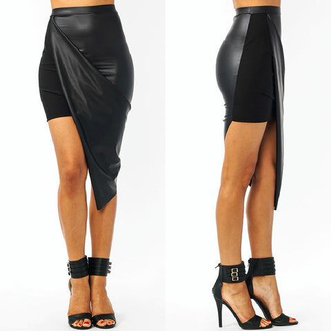 Leather Asymmetrical Nightclub Mini Skirt - Lupsona