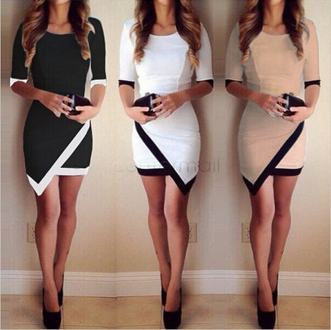 Half Sleeve Asymmetric Patchwork Elegant Bodycon Dress - Lupsona