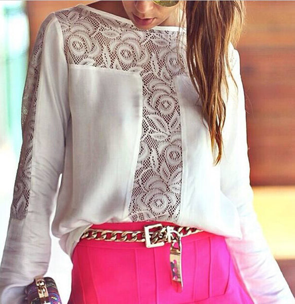 Lace Patchwork Chiffon Long Sleeve Blouse Heiss Sale - Lupsona
