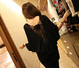 Lace Patchwork Backless Hollow Out Wanita Blus Batwing Hot Sale - Lupsona