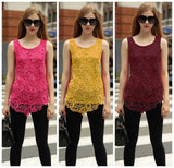 women's new fashion lace blouse new design plus size loose tank top tee 7 colors 7 size - Lupsona