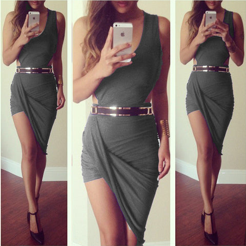 Sleeveless Party Asymmetrical Dress Moto Sale - Lupsona