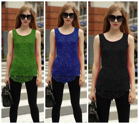 women new fashion lace blouse new design plus size loose tank top tee 7 colors 7 sizes - Lupsona