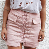 Faux Suede Bandage Pockets Package Hip Bust Skirt - loveofqueen