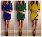 Halle Sleeve Asymmetric Patchwork Elegante Bodycon Kleed - loveofqueen