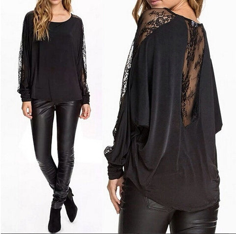 Nyuma ya Lace ya Black Long-sleeve Blouse Moto Sale - Lupsona