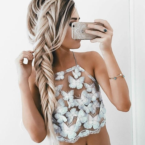 Butterfly Embroidery See Through Crop Top - Lupsona