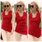 women new fashion asymmetrical red tank top - Lupsona