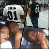 King Queen 01 Hip-Hop Couples T-shirt Vente chaude - Lupsona