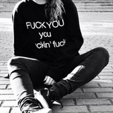 Fuck You Punk Style Swart Oversized Sweatshirt - Lupsona
