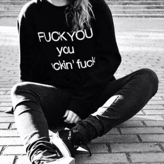 Fuck You Punk Stíl Dhúbailte Sweatshirt Oversized - Lupsona
