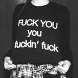 Fuck You Punk Style Black Oversized Sweatshirt - Lupsona