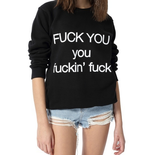 Fuck You Punk Style Zwart Oversized Sweatshirt - Lupsona