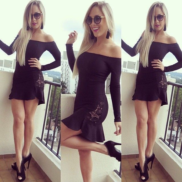 Black Lace Patchwork Off the Shoulder PartyDress - Lupsona