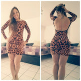 Leopard Printed Open Back Mini-vestido Hot Sale - Lupsona