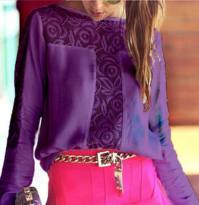 Lace Patchwork Chiffon Long Sleeve Blouse Hot Sale - Lupsona