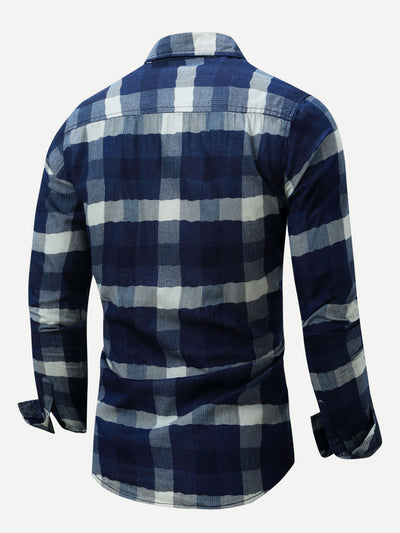 Men Plaid Denim Shirt