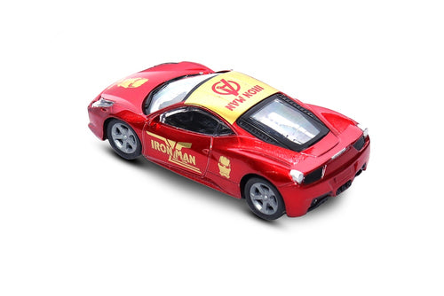 FASTR Die Cast Model 1:43 Scale Avengers Heroes Metal body Car for Age 3+ (Iron Man Red)
