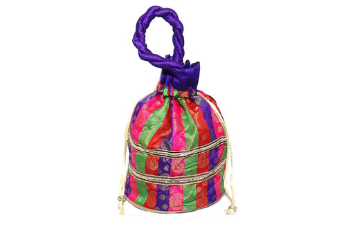 Strawberry Ethnic Clutch Silk Potli Batwa Pouch Bag Multicolor