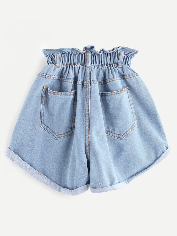 Elastic Waist Ripped Denim Skirt