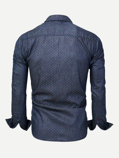 Men Polka Dot Collar Denim Shirt