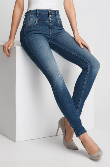 Highwaist Destroyed Skinny Women's Blue Jeans - Orsay - mydenimstore