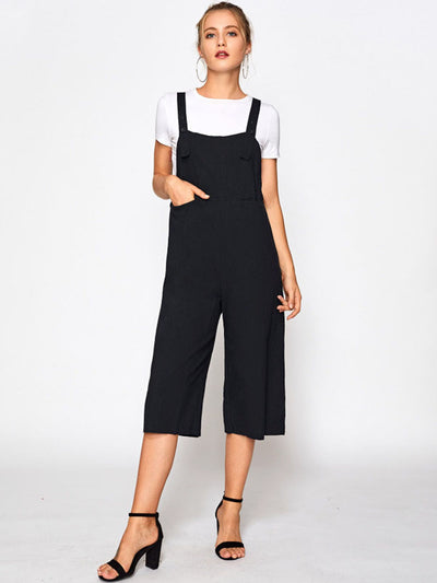 Wide Leg Crop Pinafore Jumpsuit