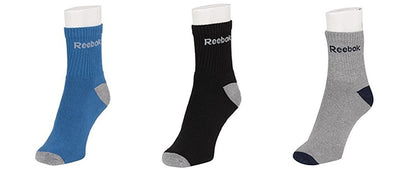 Reebok Full Cushion Ankle Length Men's Socks - Pack of 3 (Blue/Black/Grey)