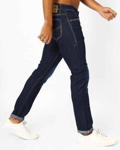 Flying machine Michael Washed Slim Tapered Fit Men's Blue Jeans