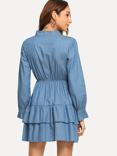 Tie Neck Ruffle Denim Dress