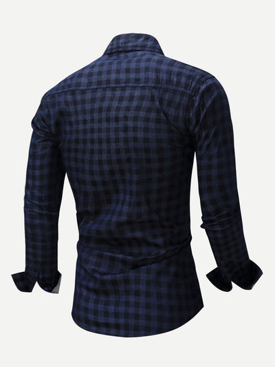 Men Plaid Collar Denim Shirt