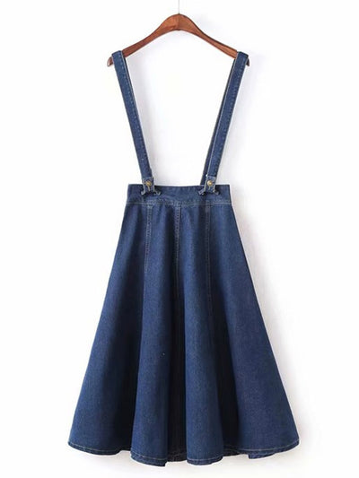 Solid Denim Skirt With Detachable Straps