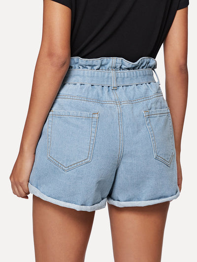 Cuffed Hem Denim Shorts with Belt