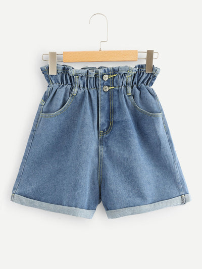 Denim Frill Trim Shorts