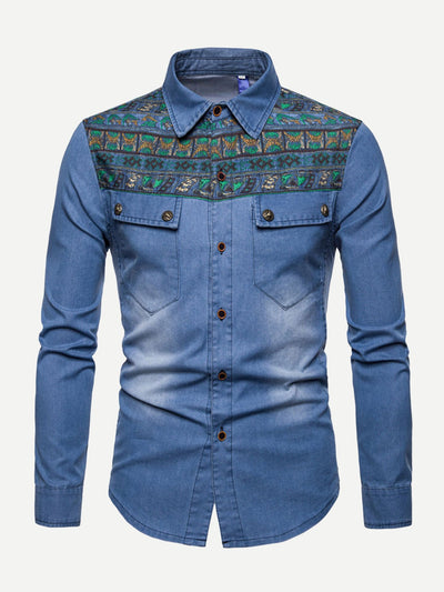 Men Embroidery Button Up Denim Shirt