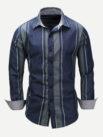 Men Striped Collar Denim Shirt