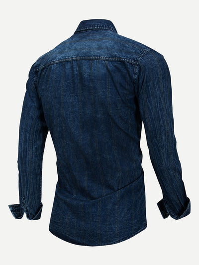 Men Solid Collar Denim Shirt